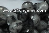 CRU22 15.5 inches 15*20mm faceted egg-shaped black rutilated quartz beads