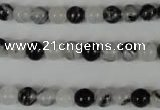 CRU302 15.5 inches 6mm round black rutilated quartz beads