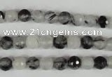CRU312 15.5 inches 6mm faceted round black rutilated quartz beads