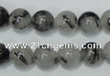 CRU54 15.5 inches 12mm round black rutilated quartz beads wholesale