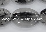 CRU89 15.5 inches 22*30mm oval black rutilated quartz beads wholesale