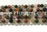 CRU912 15.5 inches 8mm faceted round mixed rutilated quartz beads