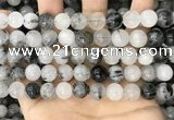 CRU963 15.5 inches 10mm round black rutilated quartz beads
