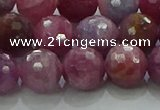 CRZ1125 15.5 inches 9mm faceted round natural ruby gemstone beads
