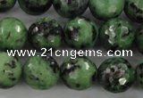 CRZ730 15.5 inches 6mm faceted round ruby zoisite gemstone beads