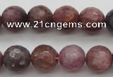 CRZ852 15.5 inches 8mm faceted round natural ruby gemstone beads