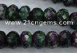 CRZ915 15.5 inches 13*18mm faceted rondelle Chinese ruby zoisite beads