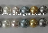 CSB1058 15.5 inches 10mm round mixed color shell pearl beads