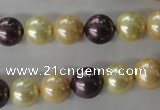 CSB1072 15.5 inches 10mm round mixed color shell pearl beads