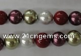 CSB1075 15.5 inches 10mm round mixed color shell pearl beads