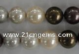 CSB1083 15.5 inches 12mm round mixed color shell pearl beads