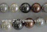 CSB1084 15.5 inches 12mm round mixed color shell pearl beads