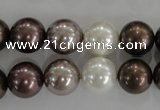 CSB1087 15.5 inches 12mm round mixed color shell pearl beads