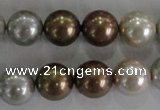 CSB1091 15.5 inches 12mm round mixed color shell pearl beads