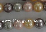 CSB1093 15.5 inches 12mm round mixed color shell pearl beads