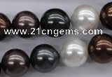 CSB1120 15.5 inches 14mm round mixed color shell pearl beads
