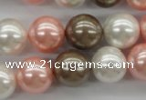 CSB1137 15.5 inches 14mm round mixed color shell pearl beads
