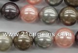 CSB1140 15.5 inches 14mm round mixed color shell pearl beads