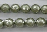 CSB1188 15.5 inches 12mm faceted round shell pearl beads