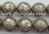 CSB1195 15.5 inches 18mm faceted round shell pearl beads