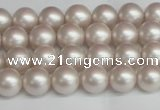 CSB1355 15.5 inches 4mm matte round shell pearl beads wholesale