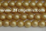 CSB1380 15.5 inches 4mm matte round shell pearl beads wholesale