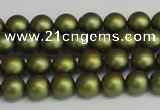 CSB1395 15.5 inches 4mm matte round shell pearl beads wholesale