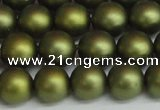 CSB1399 15.5 inches 12mm matte round shell pearl beads wholesale