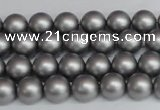 CSB1440 15.5 inches 4mm matte round shell pearl beads wholesale