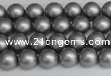 CSB1441 15.5 inches 6mm matte round shell pearl beads wholesale