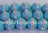 CSB1513 15.5 inches 12mm round shell pearl with rhinestone beads