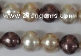 CSB157 15.5 inches 12*15mm – 13*16mm oval mixed color shell pearl beads