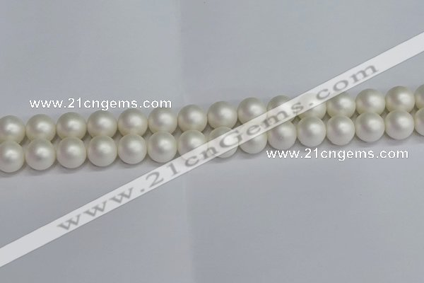 CSB1603 15.5 inches 10mm round matte shell pearl beads wholesale