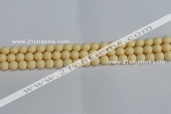 CSB1611 15.5 inches 6mm round matte shell pearl beads wholesale
