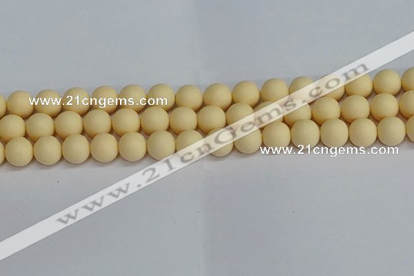 CSB1614 15.5 inches 12mm round matte shell pearl beads wholesale