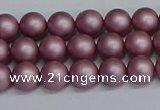 CSB1640 15.5 inches 4mm round matte shell pearl beads wholesale