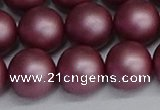 CSB1645 15.5 inches 14mm round matte shell pearl beads wholesale