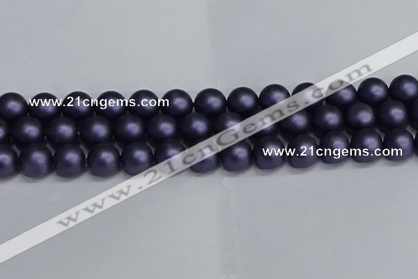 CSB1665 15.5 inches 14mm round matte shell pearl beads wholesale