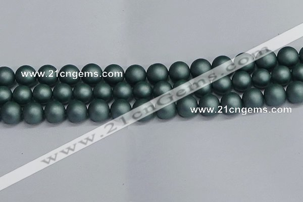 CSB1725 15.5 inches 14mm round matte shell pearl beads wholesale