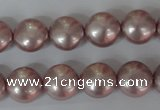 CSB181 15.5 inches 12mm flat round shell pearl beads wholesale