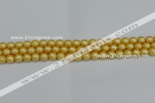 CSB1811 15.5 inches 6mm faceetd round matte shell pearl beads