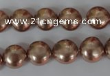 CSB182 15.5 inches 12mm flat round shell pearl beads wholesale