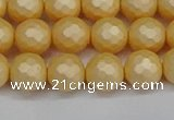 CSB1822 15.5 inches 8mm faceetd round matte shell pearl beads