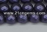 CSB1893 15.5 inches 10mm faceted round matte shell pearl beads
