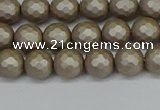 CSB1901 15.5 inches 6mm faceted round matte shell pearl beads