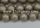 CSB1903 15.5 inches 10mm faceted round matte shell pearl beads