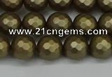 CSB1912 15.5 inches 8mm faceted round matte shell pearl beads