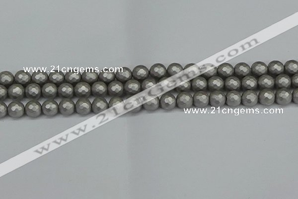 CSB1952 15.5 inches 8mm faceted round matte shell pearl beads