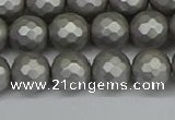 CSB1953 15.5 inches 10mm faceted round matte shell pearl beads