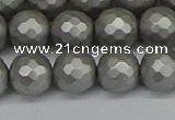CSB1954 15.5 inches 12mm faceted round matte shell pearl beads